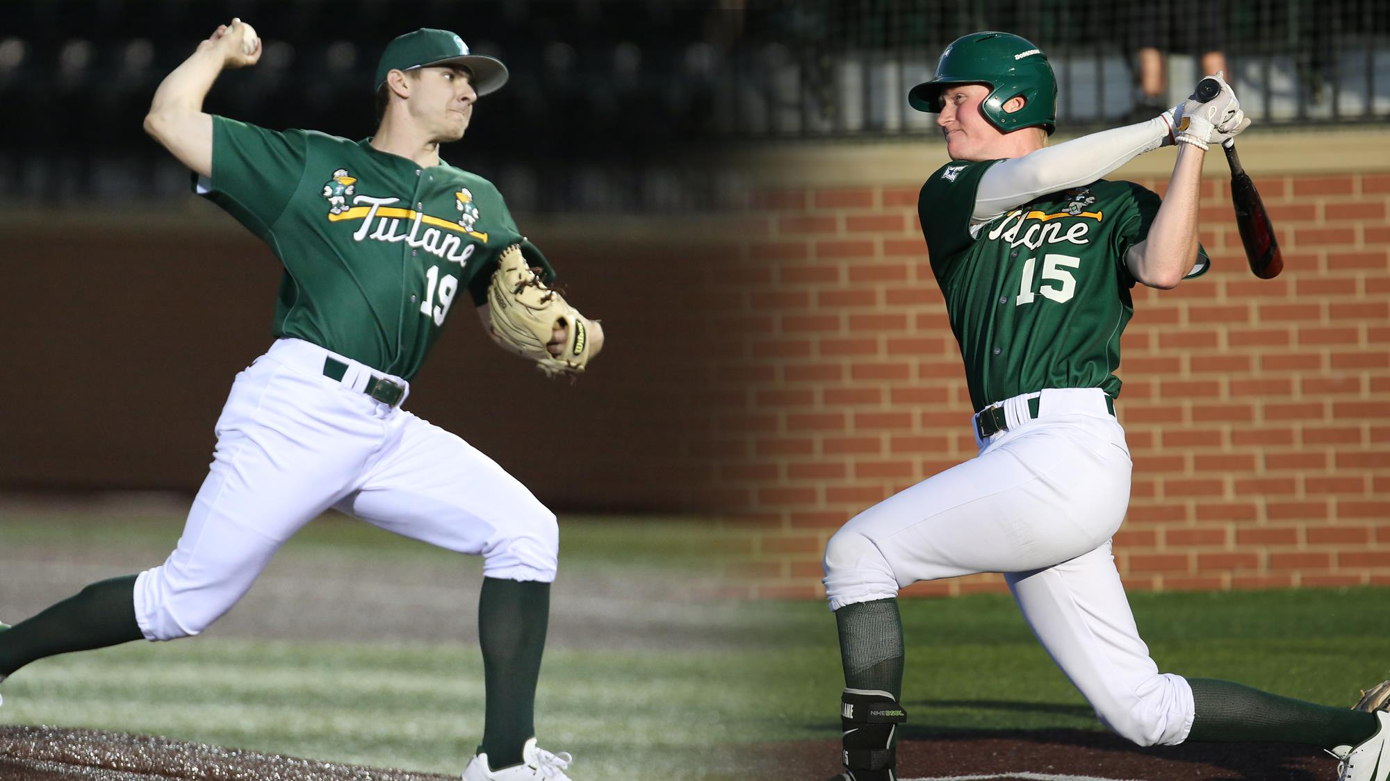 Tulane baseball junior right-hander Will McAffer and sophomore third baseman Kody Hoese